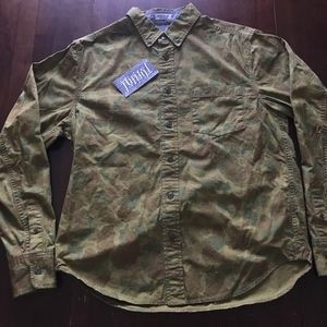 STUSSY CAMO DELUXE BUTTON SHIRT HAND TAILORED M